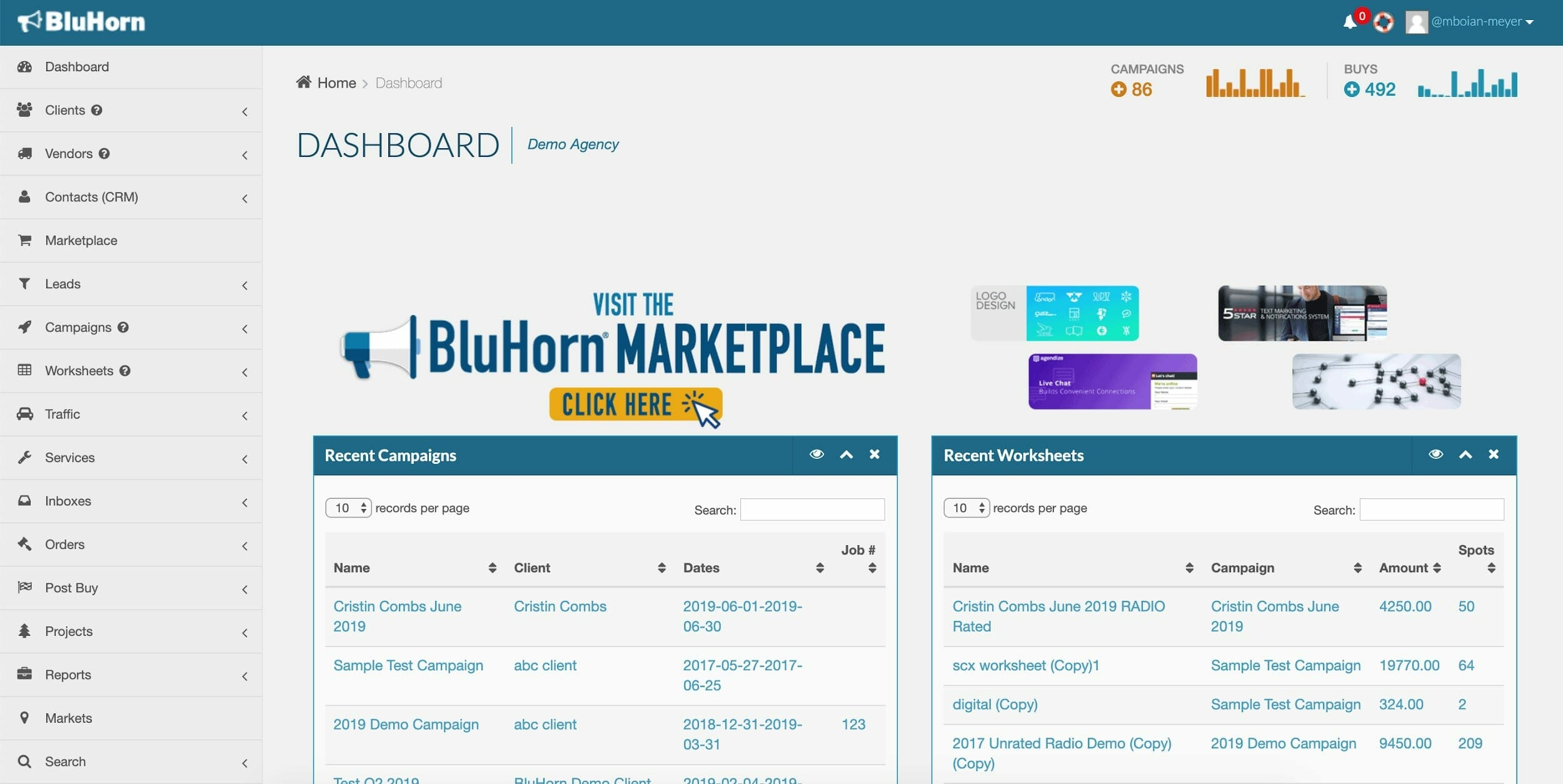 BluHorn Dashboard Screenshot