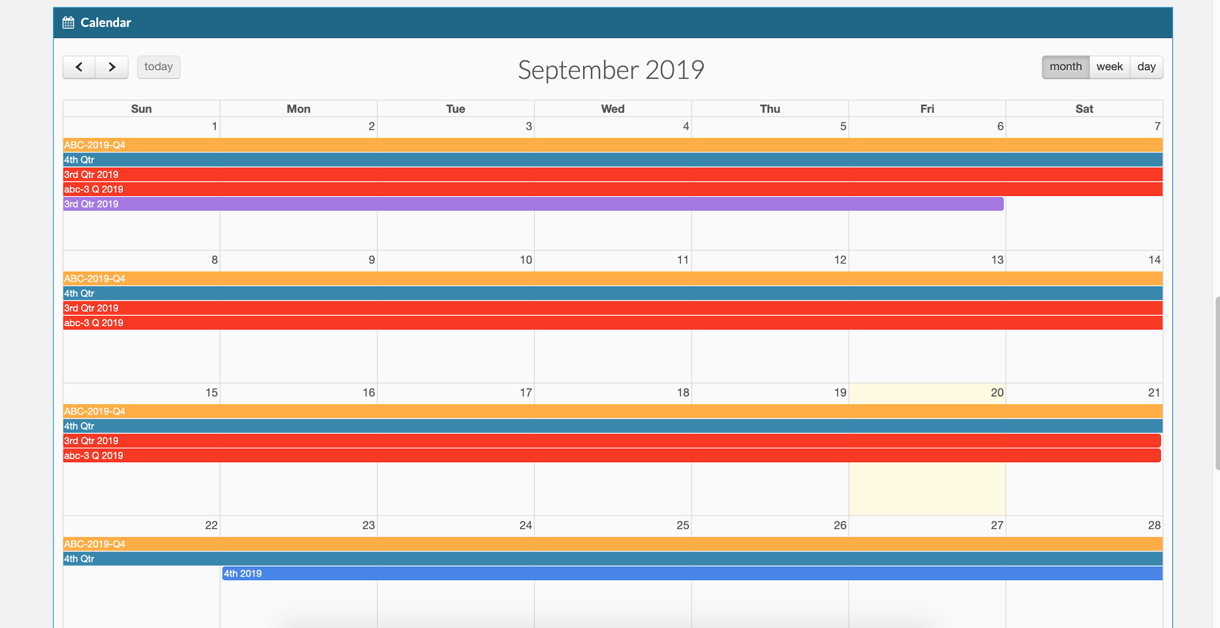 Agency Dynamic Calendar Feature Screenshot